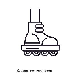 Roller skating flat line illustration, concept vector isolated icon on white background