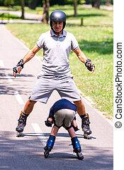 Roller skating in the park