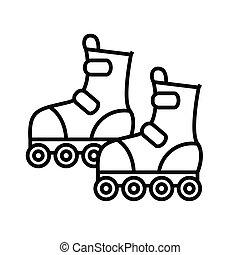 Roller skating line icon, concept sign, outline vector illustration, linear symbol.