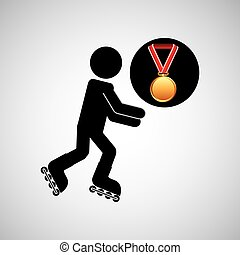roller skating medal sport extreme graphic