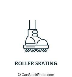 Roller skating vector line icon, linear concept, outline sign, symbol