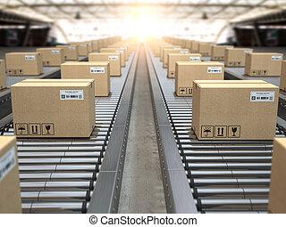 roller., transport, entrepôt, service, system., colis, boîte, distribution, livraison, convoyeur