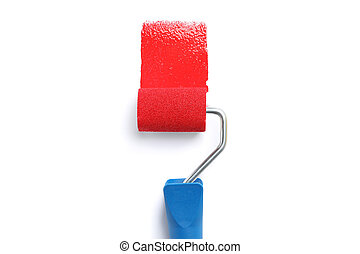Roller with red paint isolated on white background