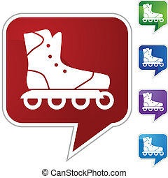 Rollerblade icon button symbol isolated on a background.