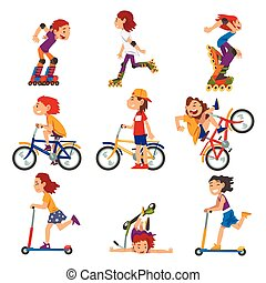 rollerblades, calcio, cartone animato, bicicletta, attività...