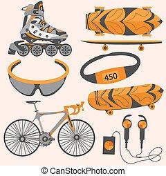 rollerblades, schlittschuh, fahrrad, sport ausrüstungen, schwimmbrille