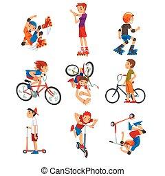 rollerblades, trasporto, calcio, cartone animato, bicicletta...
