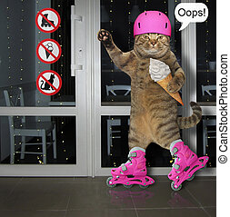 rollerblading, 2, creme, gelo, gato