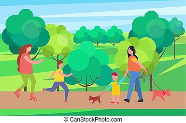 Rollerblading and Dog Walking Vector Illustration