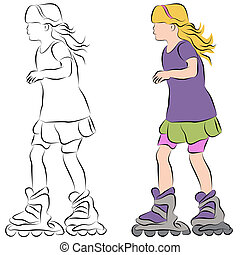 Rollerblading Little Girl - An image of a rollerblading...