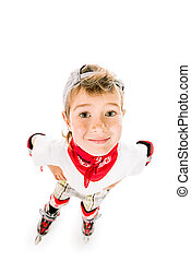 rollerblading - Portrait of a cute smiling boy in roller...