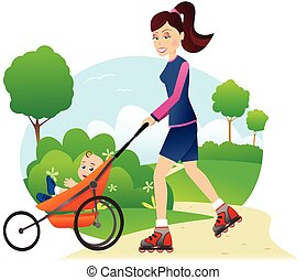 Rollerblading with babystroller in park.eps