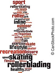 rollerblading, woord, wolk