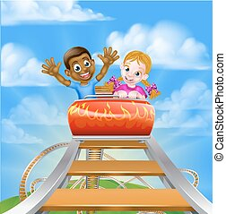 Rollercoaster at the Theme Park - Cartoon boy and girl...