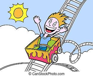 rollercoaster boy in a hand drawn cartoon style.