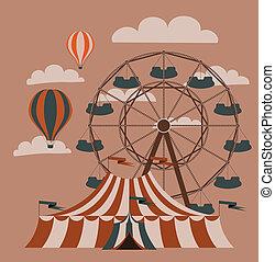 Rollercoaster - Retro fair picture. Ferris wheel and...