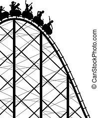 Rollercoaster - Editable vector silhouette of a steep ...