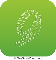 Rollercoaster icon green vector isolated on white background