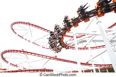 Rollercoaster on white background.