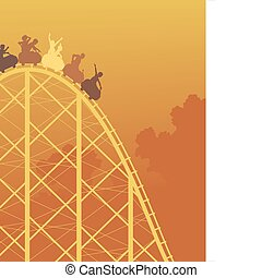 Rollercoaster ride - Editable vector colorful silhouette of...