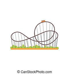 Rollercoaster track with train. Extreme ride attraction....