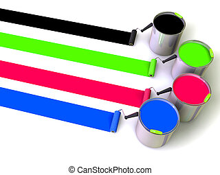 Rollers brush and buckets of paint. 3d