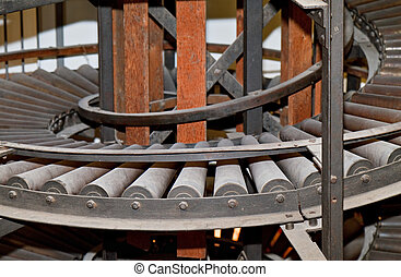 Side view of the spiral conveyor in an old warehouse