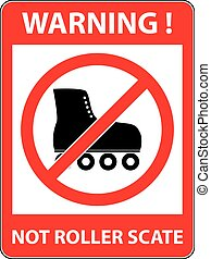 rollerskate, いいえ, スケート, シンボル。, 禁止された, vector.