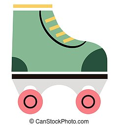 rollerskate flat illustration on white. Lifestyle and...
