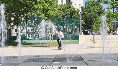 Rollerskater and Water Fountain