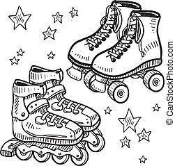 Rollerskates and rollerblade sketch