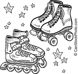 Rollerskates and rollerblade sketch - Doodle style sketch of...