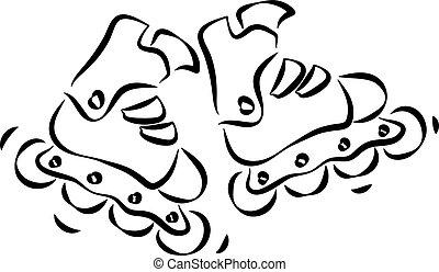 Rollerskates and rollerblades Doodle style sketch