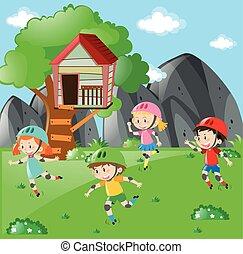 rollerskating, bambini, giardino