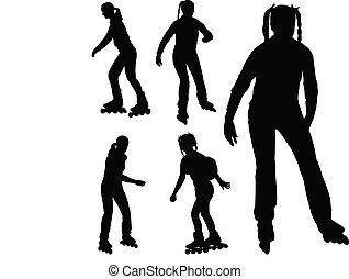 rollerskating girl - silhouettes of rollerblade girl -...