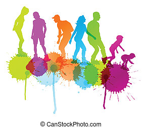 Rollerskating silhouettes vector background concept with ink splashes for poster