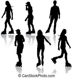 rollerskating., sylwetka, wektor, illustration., ludzie