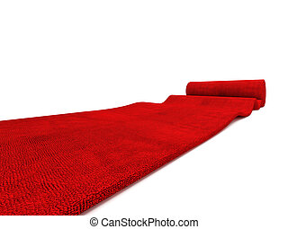 classic rolling red carpet on white background