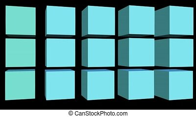 Rolling cubes with color changing on black background, 3d...