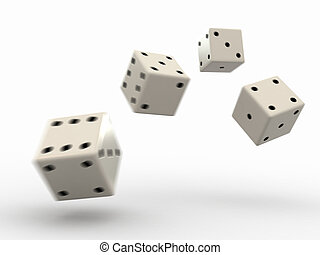 3D render of rolling dice with added motion blur