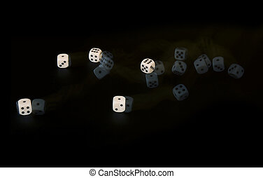 Five dice rolling, captured with a stroboscopic flash