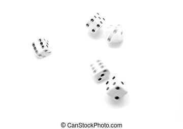 rolling the dice, natural motion blur and shot over white