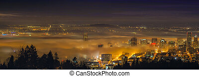 Rolling Fog Over City of Portland at Dawn