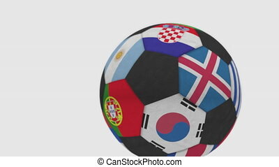 Rolling football ball featuring different national teams accents flag of Argentina