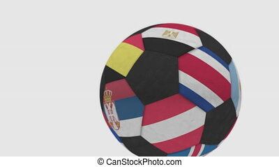 Rolling football ball featuring different national teams accents flag of Belgium