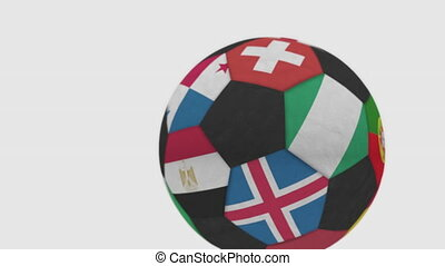 Rolling football ball featuring different national teams...