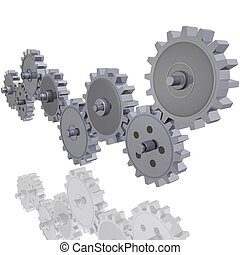 Various 3D gears in a row.