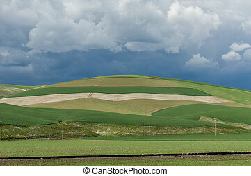 Rolling green farm fields with angry storm