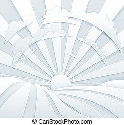 Rolling Hills Sun Rays Field Background