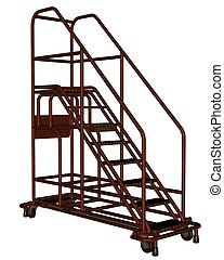 3D rendered rolling ladder on white backgroun isolated